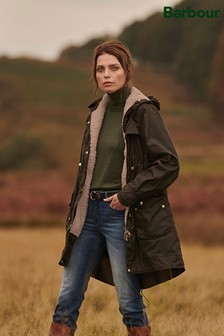 Barbour® Reengineered Olive Wax Borg Lined Birches Parka Coat