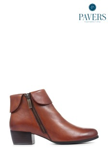 Pavers Tan Cognac Leather Ladies Ankle Boots