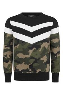 Black Camouflage Print Cotton Sweatshirt