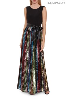 Gina Bacconi Aga Sequin Maxi Dress