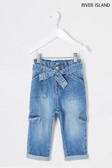 River Island Denim Medium Carpenter Paperbag Jeans