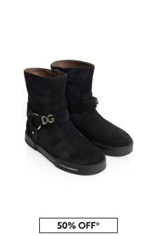 Dolce & Gabbana Kids Girls Black Suede Boots