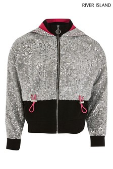 River Island Silver Sequin Bomber Jacket