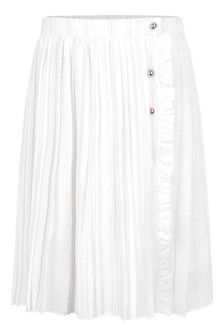 Girls White Pleated Skirt