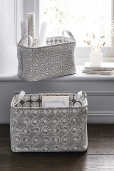Set of 2 Carter Print Reversible Storage Baskets