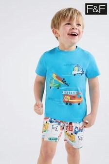 F&F Blue Transport Pyjamas Two Pack