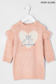 River Island Pink Pointelle Jumper Dress