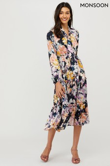 Monsoon Blue Marie Sustainable Midi Print Dress