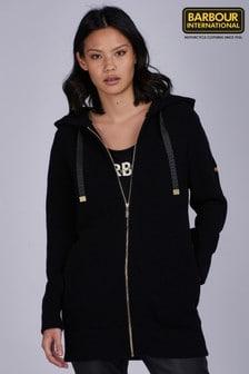 Barbour® International Black Longline Hooded Lydden Cardigan