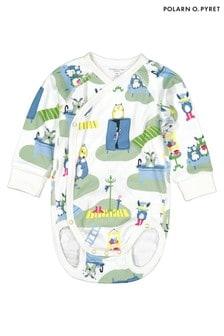 Polarn O. Pyret Green GOTS Organic Scandi Print Bodysuit