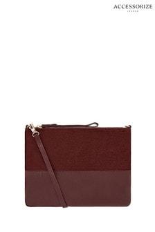 Accessorize Red Carmela Leather Cross Body Bag