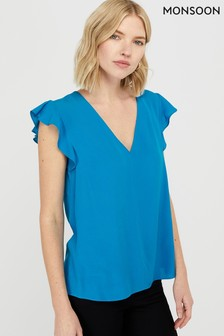 Monsoon Blue Nessa Sustainable Viscose Blouse