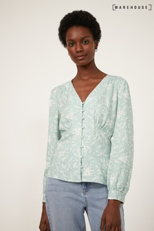 Warehouse Green Sprig Floral Button Front Top