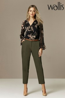 Wallis Khaki Petite Double Faced Belted Cigarette Trousers