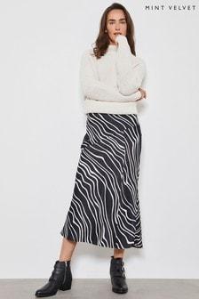 Mint Velvet Black Mila Print Midi Slip Skirt