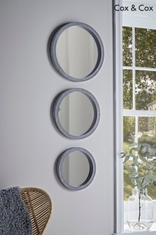 Set of 3 Cox & Cox Concrete Effect Round Mirrors