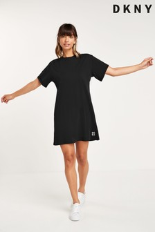 DKNY Black Track Logo T-Shirt Dress