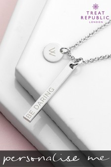 Personalised Sleek Bar And Disc Necklace by Treat Republic