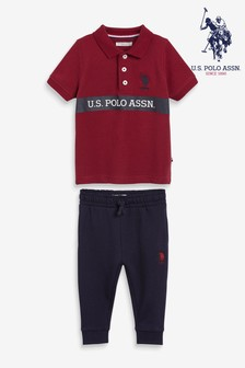 U.S. Polo Assn. Split Colourblock Logo Poloshirt And Jogger Set