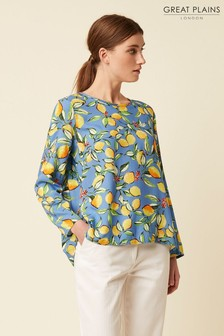 Great Plains Blue Sorrento Lemon Round Neck Top