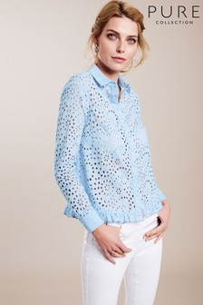 Pure Collection Blue Broderie Anglaise Crop Frill Shirt