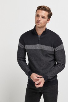 Colourblock Zip Neck Jumper