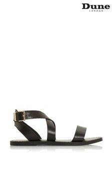 Dune London Leelah Black Leather Cross Over Strap Sandals