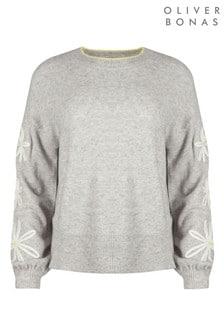 Oliver Bonas Daisy Embroidered Sleeve Grey Jumper