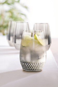 Celeste Metallic Embossed Set of 4 Tumbler Glasses