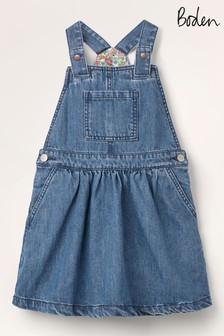 Mini Boden Blue Woven Dungaree Dress