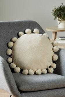 Natural Pom Pom Edge Circle Cushion