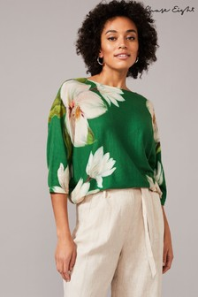 Phase Eight Green Fenia Floral Print Knit Jumper