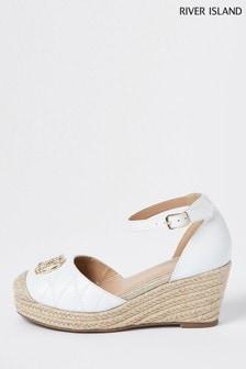 River Island White Quilted Pocket Back Sandals