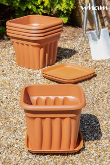 Set of 5 Vista 40cm Square Tray And Garden Planters by Wham