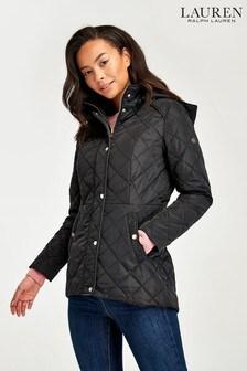 Lauren Ralph Lauren® Black Moto Quilted Hooded Jacket