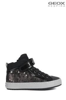 Geox Junior Girl's Kalispera Black/Dark Silver Velcro Sneakers