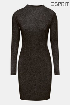 Esprit Black Sparkle Dress With Roll Neck