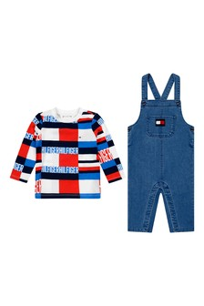 Baby Boys Blue Denim Dungaree Set