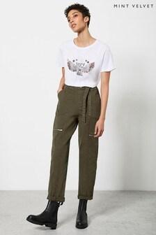 Mint Velvet Khaki Zip Cargo Trousers