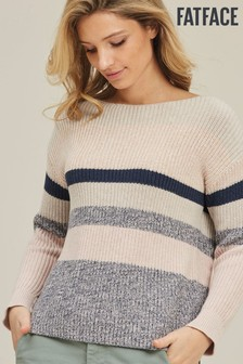 FatFace Blue Holly Space Dye Stripe Jumper