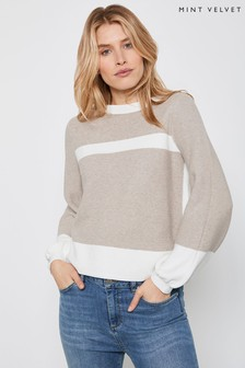 Mint Velvet Beige Balloon Sleeve Jumper