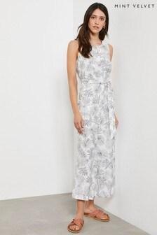 Mint Velvet Palm Print Belted Jumpsuit