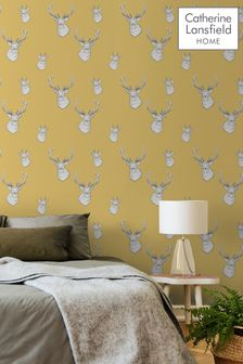 Catherine Lansfield Yellow Stag Wallpaper