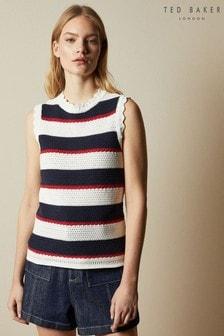 Ted Baker Cream Bonayy Crochet Striped Sleeveless Top