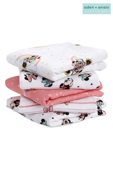 aden + anais® Essentials Muslin Squares 5 Pack- Minnie Rainbows (60 x 60cm)
