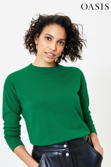 Oasis Green Crew Neck Knit Jumper