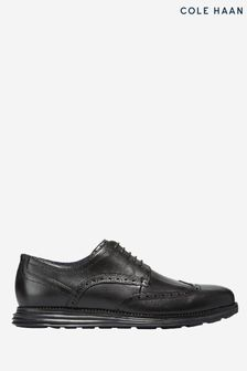 Cole Haan Black Original Grand Wingtip Oxford Lace-Up Shoes