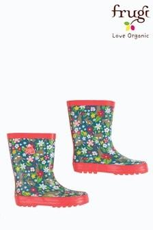 Frugi Wellington Boots In Floral Rabbit Print
