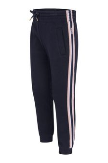 Chloe Kids Girls Navy Cotton Brushed Fleece Trousers