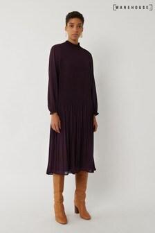 Warehouse Purple Micro Pleat Midi Dress